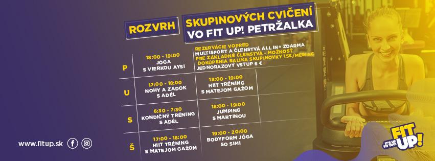 Rezervácie na skupinové cvičenia vo FIT UP! Petržalka